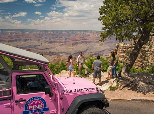 Interpretive guide and tour guests viewing the Grand Canyon at lookout point with Pink® Jeep® Wrangler in foreground