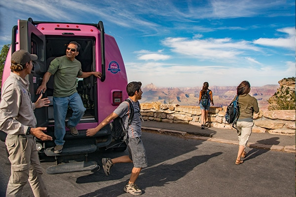 Group enjoying view of Grand Canyon