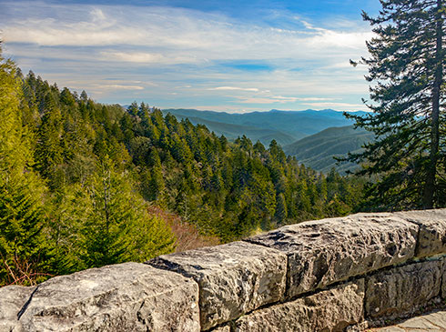 View of Great Smoky Mountains National Park from Newfound Gap