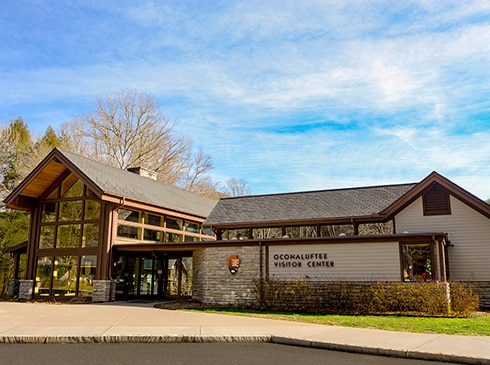 Oconaluftee Visitor Center at the entrance to the Great Smoky Mountains National Park