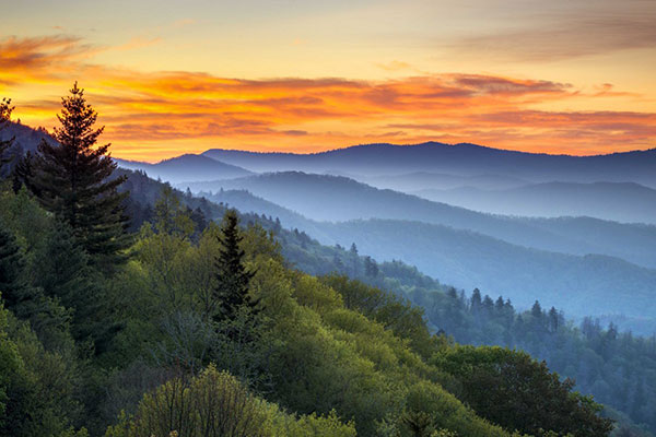Blue haze from the Smoky Mountains at sunset.