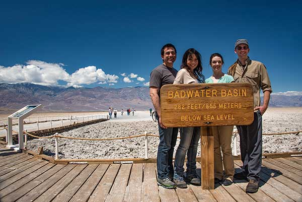Tourists at Badwater Basin in Death Valley, Nevada
