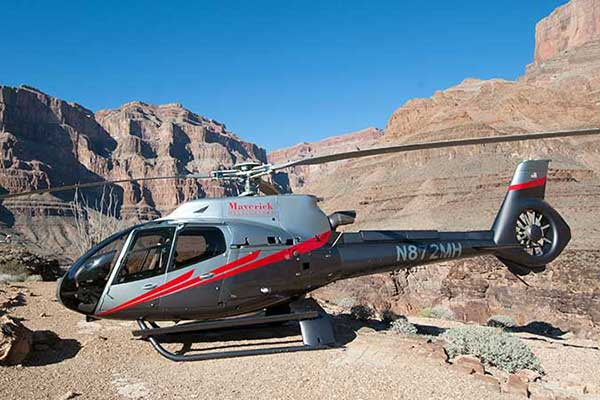 Maverick helicopter landed on floor of Grand Canyon