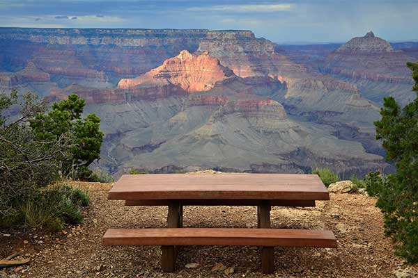 Picnic table view of Grand Canyon at Shoshone Point