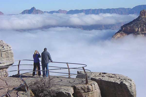 Grand Canyon winter clouds inversion