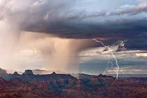Monsoon lightning storm at the Grand Canyon