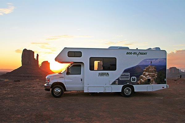 RV in Monument Valley at sunset