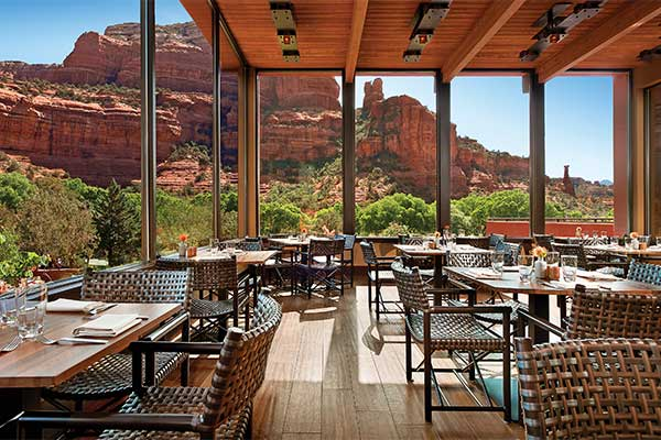 Patio view of Boynton Canyon at Enchantment Resort's Tii Gavo Restaurant, Sedona, AZ