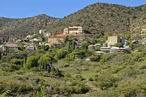 Hillside view of historic Jerome, AZ