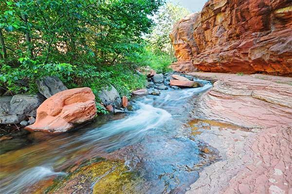 Creek flowing along West Fork Trail, Oak Creek Canyon, Arizona