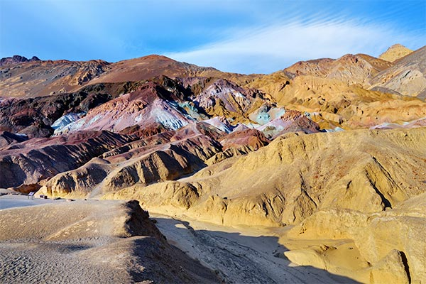 View of Artist's Palette along scenic Artist's Drive in Death Valley National Park