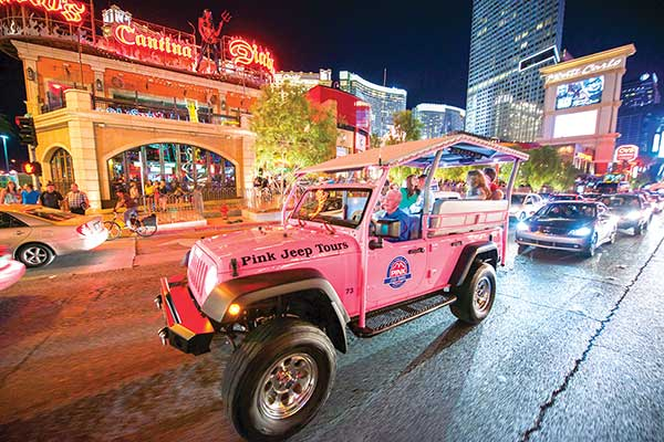 Pink Jeep Bright Lights tour along the Las Vegas Strip at night