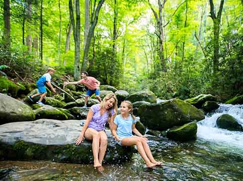 Family playing in stream on along Roaring Fork Motor Nature trail, Great Smoky Mountains National Park