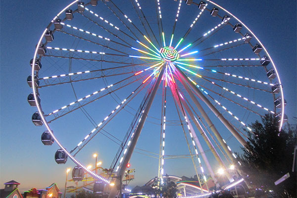 The Great Smoky Mountain Wheel lit up at twilight, The Island at Pigeon Forge, TN