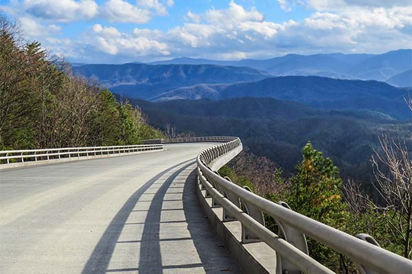 Beautiful summer view of Foothills Parkway bridge overlooking the Smoky Mountains, TN