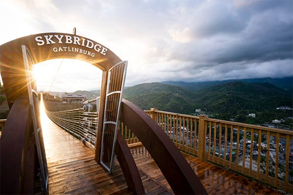 Sun beam shining through the entrance gate to Gatlinburg SkyBridge, overlooking Gatlinburg, TN