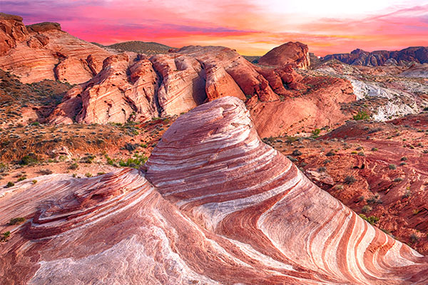 Scenic sunset landscape of Fire Wave Rock in Valley of Fire State Park, Nevada