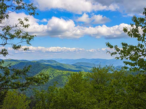 Beautiful summer view of Great Smoky Mountains National Park with blue sky