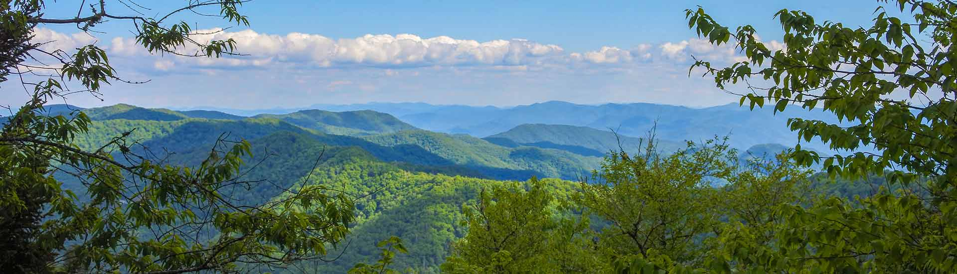 Scenic summer view of Smoky Mountains with blue sky on Pink Jeep Valley and Views tour