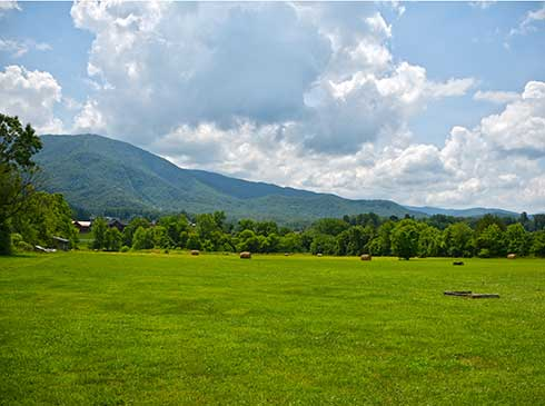 Summer view of Great Smoky Mountains across green pasture in Wears Valley, Tennessee