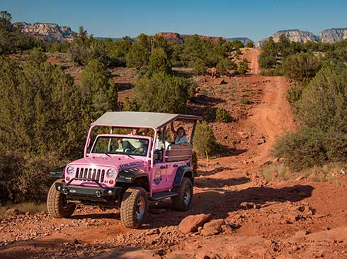 Pink® Jeep® traveling down the rugged, remote Greasy Spoon trail with view of winding dirt road in background