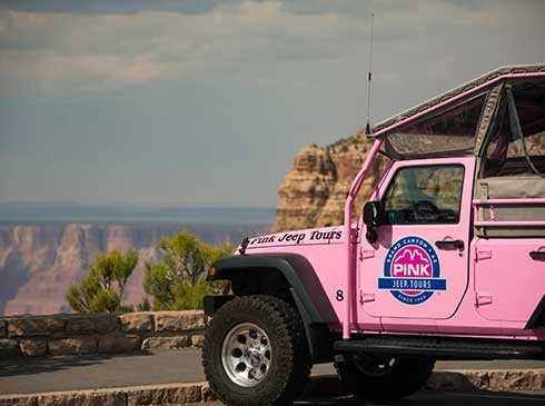 Custom Pink® Jeep® Wrangler® parked at a Grand Canyon National Park overlook site
